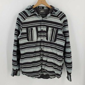 Vans Button Up Striped Hooded Long Sleeve Shirt